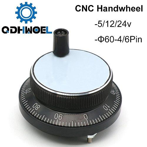 Free Shipping CNC Pulser Handwheel 5V 6pin Pulse 100 Manual Pulse Generator Hand Wheel CNC Machine 60mm Rotary Encoder