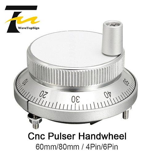 CNC Pulser HandWheel 5V 60mm 80mm 100PPR Manual Pulse Generator HandWheel Machine Rotary Encoder Electronic 4Pins 6Pins