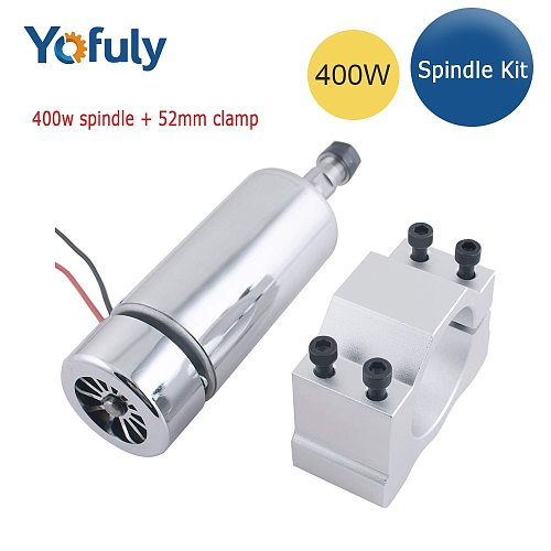 CNC Spindle 400w ER11 chuck DC 12-48v 400W Spindle motor cnc for Engraving Machine+52mm clamp ER11 3.175MM for PCB Engraving