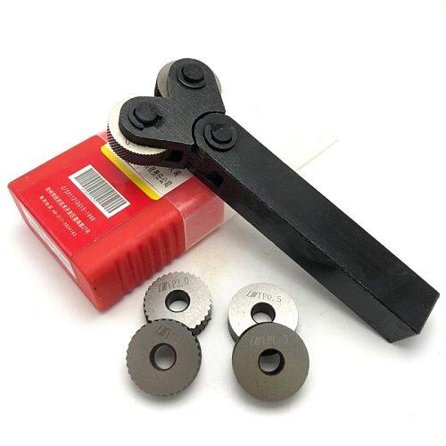 Knurling tool steel double wheel linear pitch knurling set 0.5mm 1mm 2mm embossing wheel 7pcs HSS reticulated knurling knife hob