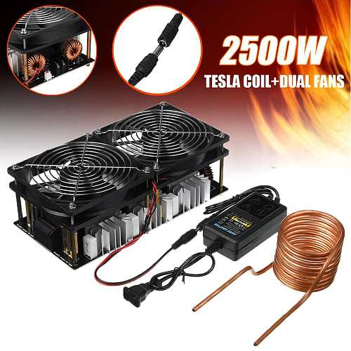 2500W 1800W ZVS Induction Heating Board Module Flyback Driver Heater with Coil +Dual Fan , Power Supply kit