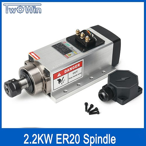 2.2kw Air-cooled Square Spindle Motor 220V 24000rpm ER20 Runout-off 0.01mm Ceramic Bearing Air Cooling Spindle for CNC Milling