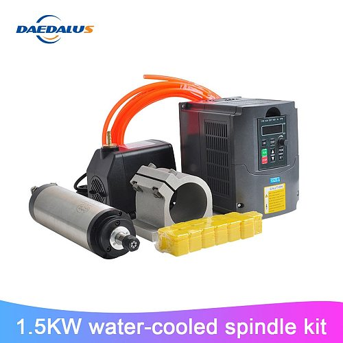 1.5KW/2.2kwCNC water-cooled spindle motor kit 65MM fixture 110V220VVFD inverter 75W water pump 13pcsER11 chuck engraving machine