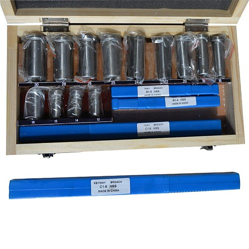 22pcs Hss Groove Keyway Broaches Set  Bushing Shim Set Metric System 12-30 HSS Keyway Tool Knife for CNC Machine