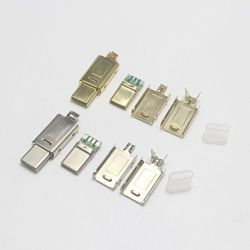 EClyxun 50set Gold-plated USB 3.1 4P 5P Type C Male Plug Welding USB-C 4 in 1 DIY Repairs Cable Charger Connector for Phone ect