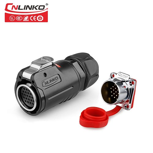 Cnlinko M24 Multicore 5A AC DC Power Panel Adapter 24 Pin IP67 Male and Female Electrical Signal Cable Connector with Dust Cover