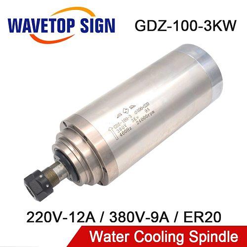 Water Cooling Spindle GDZ-100-3 3kw 380V 9A 220V 12A CNC Spindle Motor Dia.100mm ER20 400Hz