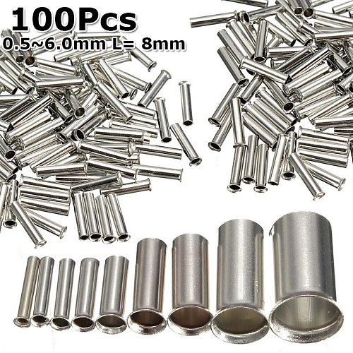 100Pcs Tin-coated Copper Uninsulated Crimp Terminal 0.5mm2-6.0mm2 Bootlace Ferrules Cord End 22-10 AWG