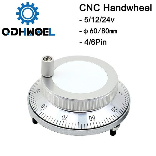 CNC Pulser Handwheel 5V 6pin Pulse 100 Manual Pulse Generator Hand Wheel CNC Machine 60mm 80mm Rotary Encoder Free Shipping