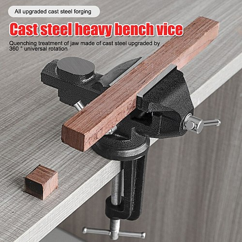 Muliti-Funcational Bench Vise Mini Rotating Tables Screws Vise Bench Clamp Screws Vise for DIY Crafts Mold Fixed Repair Tool