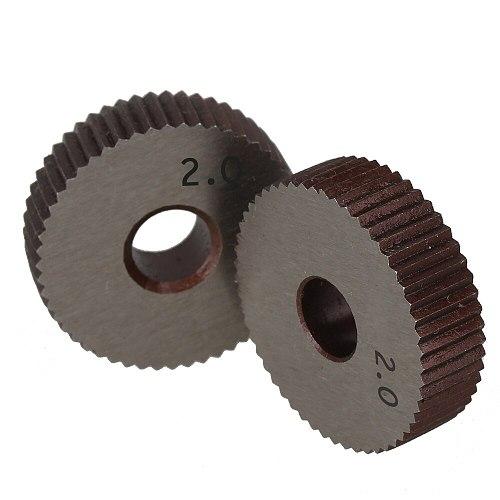 2Pcs 2.0mm Wheel knurl HSS Gear Hob Straight grain wheel Knife Knurled Lathe Embossing Wheel Machine Tools Accessories