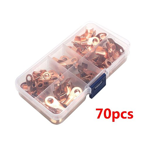 70pcs OT-10A 20A 30A 40A 50A Dia Red Copper Circular Splice Ring Terminal Wire Naked Battery Cable Connector lugs Terminals