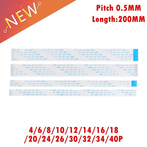 10Pcs FPC Ribbon Flexible Flat CABLE PITCH 0.5MM 200MM Forward Direction A-Type 40P FFC WIRE 4P/6/10/12/16/18/20/24/26/30/32/40P