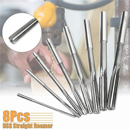 8Pcs/Set Straight Shank Reamer Precision H7 HSS Chucking Hand Reamers Set Cutter Tool 3/4/5/6/7/8/9/10mm For Bore Machine Tools