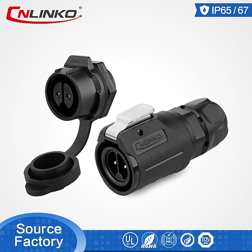 Cnlinko M16 2 Pin Plastic Waterproof Connector for LED Display Screen IP67 Connectors 10A Power Male Plug Female Socket Adapter