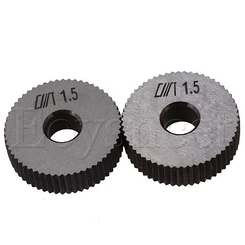 2pcs Silver Steel Knurling Tool 28mm Single Straight Wheel 1.5mm Pitch