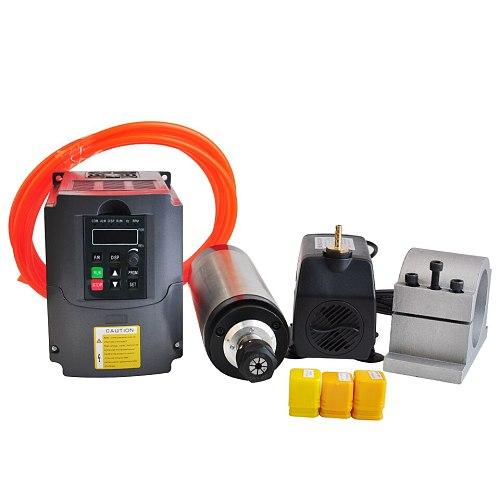 CNC Spindle Kit 2.2KW Water Cooled Spindle Motor 110V 220V VFD Inverter Converter 80MM Clamp 75W Water Pump 3pcs ER20 Collets