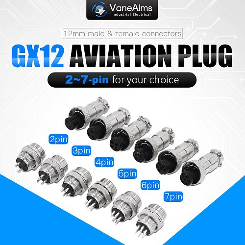 GX12 2/3/4/5/6/7 Pin Male + Female 12mm Circular Aviation Socket Plug Wire Panel Connector Small industrial socket adapter