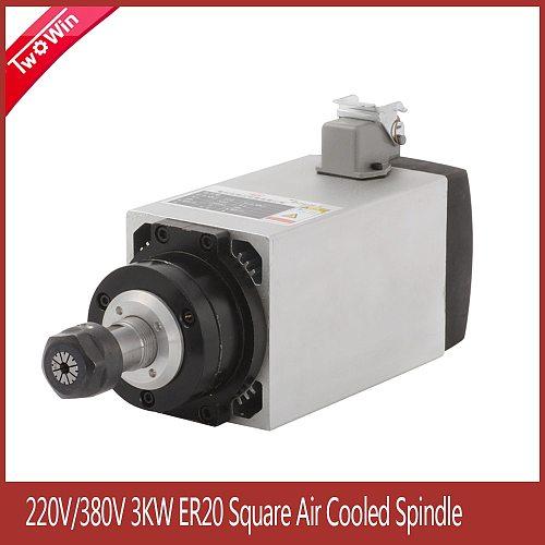 3KW 220V/380V Air Cooled Square Spindle CNC Motor With ER20 Collet Tool CNC Spindle for CNC Milling Machine