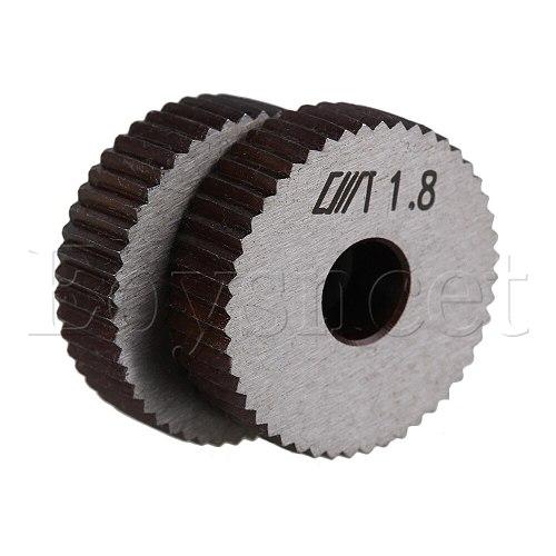 2x 1.8mm Pitch Linear Knurling Wheel Steel Single Straight Coarse 28mm Dia
