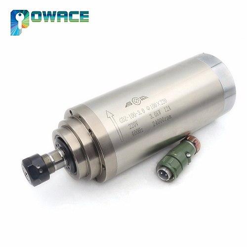 [EU Delivery] 3KW Water Cooled ER20 Spindle Motor 220V 24000rpm +3KW Inverter VFD 4HP 220V + 100mm Fixing spindle+Pump+Collet