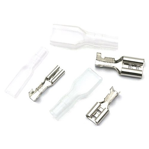 100pcs 50Sets Female Spade Connector 2.8 /4.8 /6.3 Crimp Terminal with Insulating Sleeves For Terminals 22-16AWG
