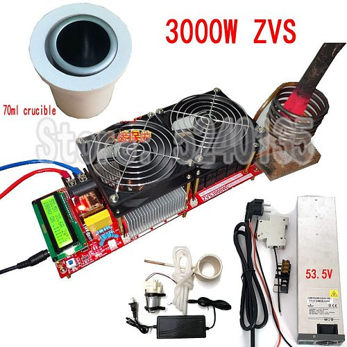 3000W 55A ZVS High Frequency Induction Heater Module Flyback Driver Heater Good Heat Dissipation + Coil +pump +power+crucible
