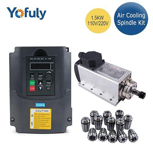 1.5kw 220v/110v CNC Square Air Cooling Spindle Motor  ER11 Collet1500W Air-cooled Milling Spindle+1.5KW VFD Inverter+13pcs Er11