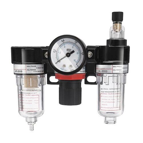 AC2000 1/4 Inch Air Pressure Filter Regulator Oil Water Separator Lubricator Moisture Water Trap Cleaner Oil-Water Separator