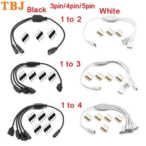 3 Pin 4 Pin 5 Pin RGB Led Connector Cable 1 to 2/ 1 to 3/ 1 to 4 RGB RGBW 4Pin 5Pin Splitter Cable for 3528 5050 LED Strip light