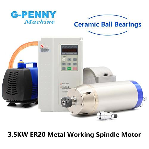 Professional 3.5kw ER20 metal working spindle kit engraving steel copper iron stainless steel & 3.7kw inverter & 150w water pump