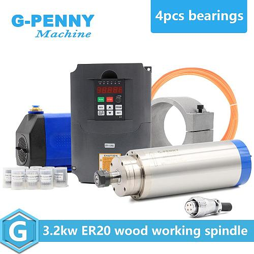 3.2kw water cooled spindle ER20 4 pcs ceramic bearings 0.01mm accuracy& HY 220v 4.0kw inverter & 100mm bracket & water pump