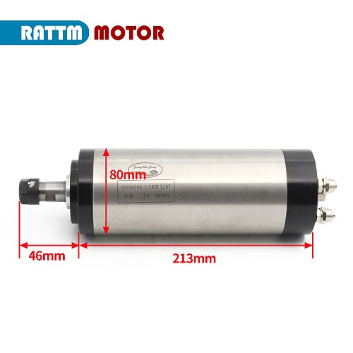 EU free Vat Air cooled CNC spindle motor 1.5KW ER16 1500W 220V 24000rpm 4 bearing 400Hz For Engraving Milling router machine