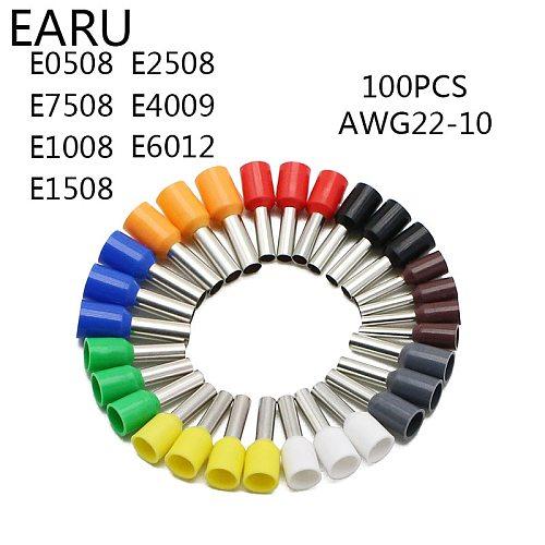 100pcs/Pack E0508 E7508 E1008 E1508 E2508 Insulated Ferrules Terminal Block Cord End Wire Connector Electrical Crimp Terminator