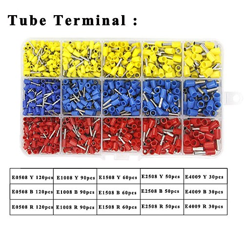Terminals various styles electrical 9 kinds box set tube insulating/insulating ring/plug  connector block crimping terminals