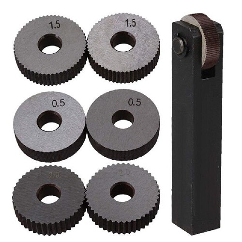 Black & Silver Steel Straight Linear Knurling Tool Set with 0.5mm 1.5mm 2mm Pitch Single Wheel Pack of 7