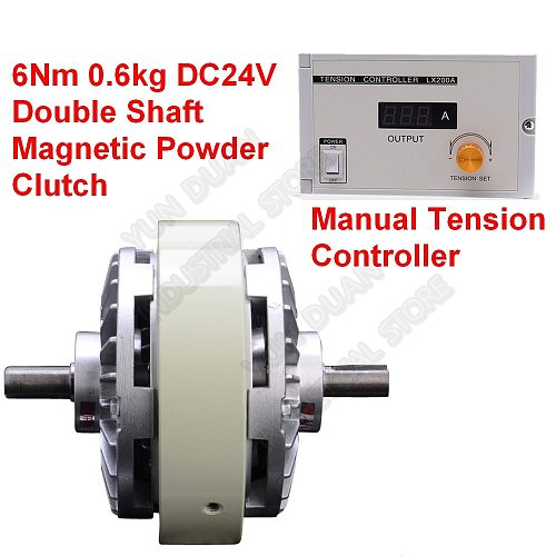6Nm 0.6kg DC24V Double Shaft Dual Axle Magnetic Powder Clutch & 3A Manual Tension Controller Kits for Bagging Printing Machine