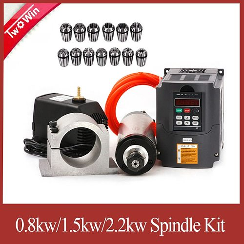 2.2kw Water-cooled spindle 2.2kw CNC spindle motor + 2.2KW VFD + 80mm clamp + water pump+13pcs ER20 For CNC Router