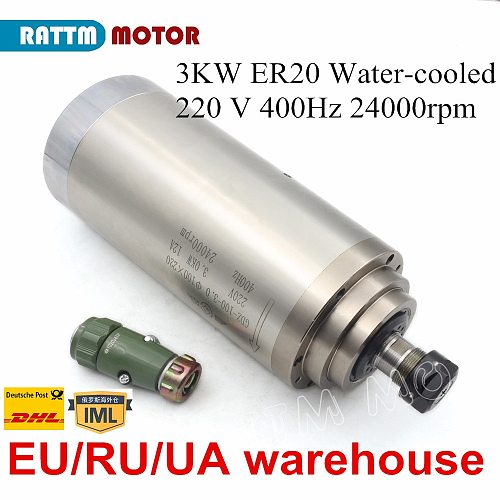 CNC Lathe Water cooling spindle motor 3KW 220V 24000rpm 100x220mm for CNC Router lathe machine