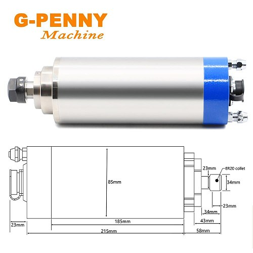 Professional Metal Working Spindle 2.2KW Spindle Motor for Iron Copper Steel 800Hz Pole=4 & Fuling VFD & 85mm Holder & 75w Pump