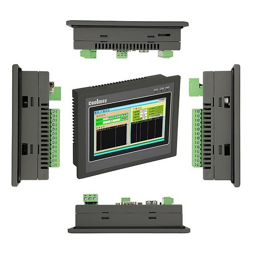 4.3'' HMI PLC Integrated Controller 4.3Inch Touch Panel DC24V Transistor Output Digital I/O 12DI 12DO Analog 0-20mA  RS232 RS485