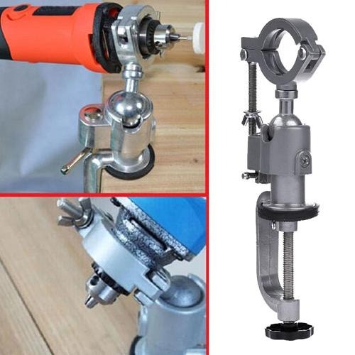 Clamp-on Bench Vises Holder Universal Mini Electric Drill Stand Make the Grinder Flat 360 Rotating for Woodworking Al 2019