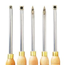 JSHAWNIK  5 Types Wood Lathe Turning Tool Carbide Inserts Cutter Tools Round Shank With  Wood Handle Turning Tool