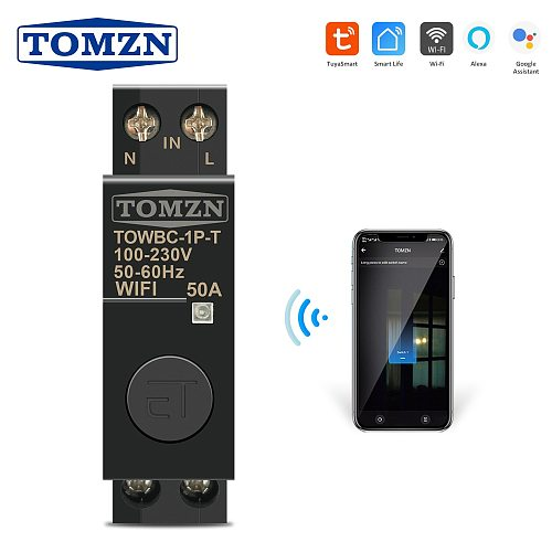 Din Rail WIFI Circuit Breaker Smart Switch Remote Control by Smart Life TUYA for Smart Home 18mm 32A 50A TOMZN Mini TOWBC-1P-T