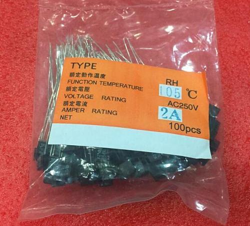 100pcs RH 92 95 102 105 115 120 125 130 135 140 145 150 Degree Thermal Fuse RH temperature fuse 2A 250V fan motor thermal fuse