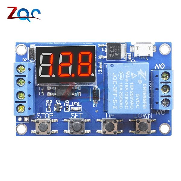 WS16 DC 6-30V Support Micro USB 5V LED Display Automation Cycle Delay Timer Control Off Switch Delay Time Relay 6V 9V 12V 24V
