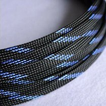 1-50M Cable Sleeves Black & Blue Snakeskin Mesh Wire Protecting Nylon Tight PET Expandable Insulation Sheathing Braided Sleeves