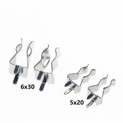 20Pcs 5*20mm 6*30mm The fuse clip Fuse holder Fuse clip 5X20MM Insurance header Copper clamp