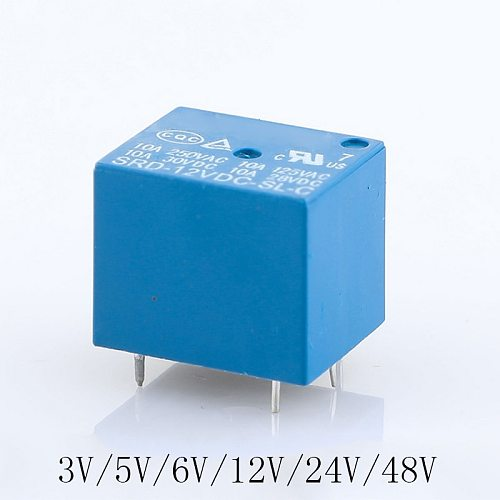 3pcs/lot Relays SRD-05VDC-SL-A SRD-12VDC-SL-A SRD-24VDC-SL-A SRD-48VDC-SL-A  DC-SL-A 3V 5V 6V 12V 24V 48V 10A 250VAC 4PIN T73