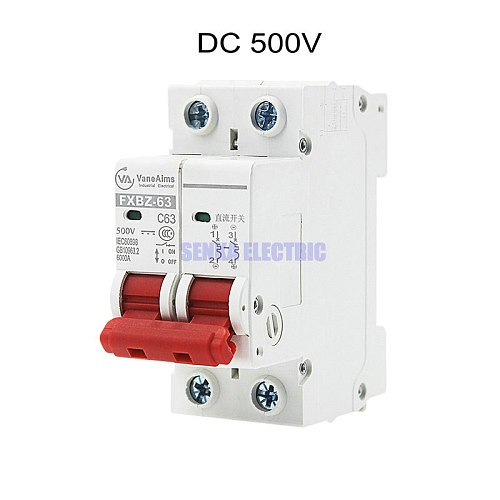 MCB 2P DC 500V Solar Mini Circuit Breaker 6A/10A/16A/20A/25A/32A/40A/50A/63A DC Air Switch